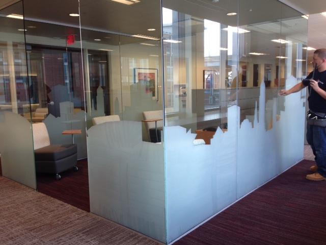 Sunray Custom Cut Deco Film Installation Wells Fargo Downtown